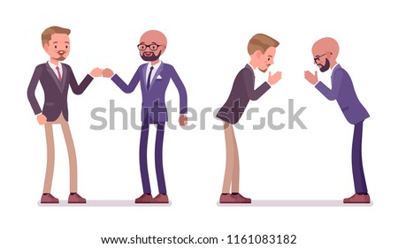 Male partners greeting. Men in fist bump and namaste gesture in meeting ceremonies. Business protocol manners and etiquette concept. Vector flat style cartoon illustration isolated on white background