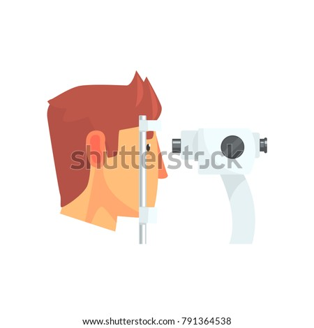 Male patient doing eye test in eyesight ophthalmological correction clinic cartoon vector Illustration