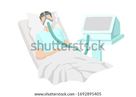 Male patient lying in bed with severe respiratory illness. Connected lung respiration apparatus. Vector realistic illustration of a sick man. Pneumonia, coronavirus, diseased lungs