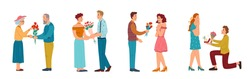 Male personages giving flowers to women, isolated man proposing to marry him. Dating and celebrating anniversary. Guys with bouquets and engagement ring. Cartoon characters, vector in flat style