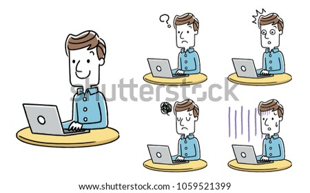 Male: Personal computer, Internet, set, variation