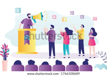 Male politician or business coach gives speech. Man with megaphone at rostrum. Election campaign, speech of a political candidate in front of voters. Group of spectators. Trendy vector illustration Сток-фото ©