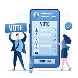 Male politician urges to vote online. Woman voting on mobile phone. Ballot page with candidates on big smartphone screen. Referendum or election. App for mobile electronic voting. Vector illustration