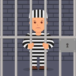 Male prisoner in cartoon style