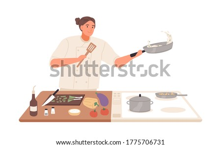 Male professional chef cooking food at kitchen of restaurant vector flat illustration. Smiling man preparing vegetables on stove isolated on white. Happy guy use frying pan to preparation dish