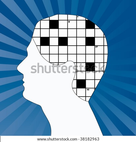 male profile with crossword for