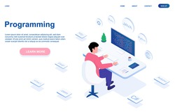 Male programmer is working on computer. Young man is sitting in white office and programming alone. Website, web page, landing page template. Isometric cartoon vector illustration