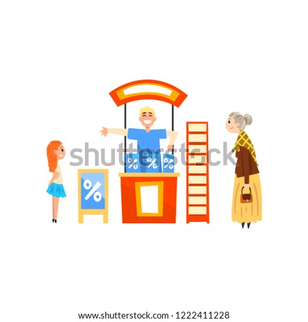 Male promoter character promoting advertisement on a stand, man advertising products at trade fair or exhibition vector Illustration on a white background