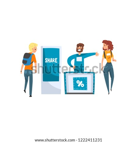 Male promoter character promoting advertisement on a stand, trade show exhibition vector Illustration on a white background