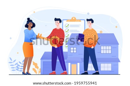 Male real estate agent gives a giant key to buyers. Young couple bought or rented big house. Concept of real estate agency deal. Man and woman are new house owners. Flat cartoon vector illustration Stock foto ©