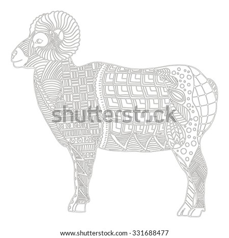985187091 Male rocky mountain bighorn sheep ram standing zentangle stylized, vector  illustration, freehand pencil,