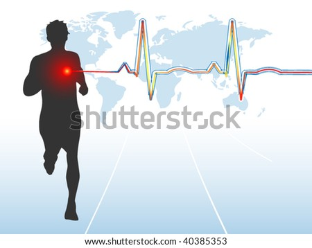 Male runner with EKG - layered