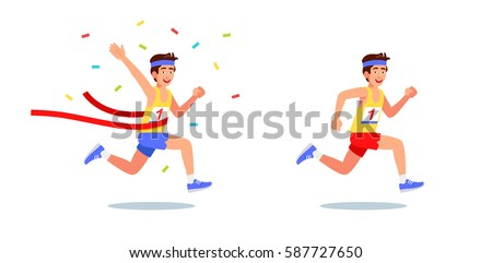 Male runner won the competition. On the T-shirt Number 1 Flat style vector illustration clipart.