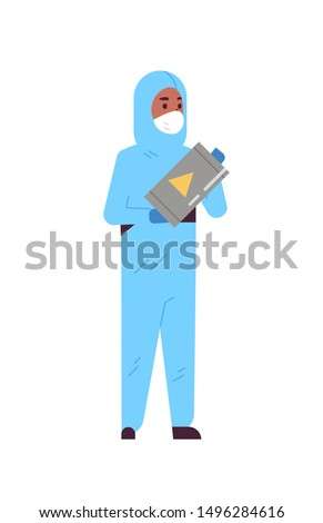 male scientific researcher holding barrel with warning sign african american man in protective suit working with dangerous chemicals research science chemical concept vertical full length flat