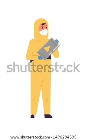 male scientific researcher holding barrel with warning sign man in protective suit working with dangerous chemicals research science chemical concept vertical full length flat