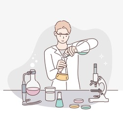 Male scientist working in lab. Hand drawn style vector design illustrations.