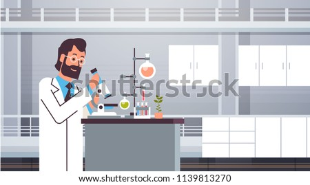 Male scientist working with microscope in laboratory doing research man making scientific experiments doctor in lab interior horizontal vector illustration