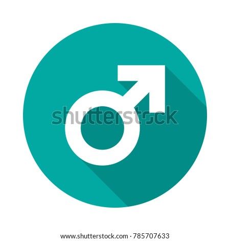 Male sex symbol circle icon with long shadow. Flat design style. Gender symbol simple silhouette. Modern, minimalist, round icon in stylish colors. Web site page and mobile app design vector element.