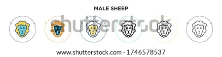 male sheep icon in filled  thin