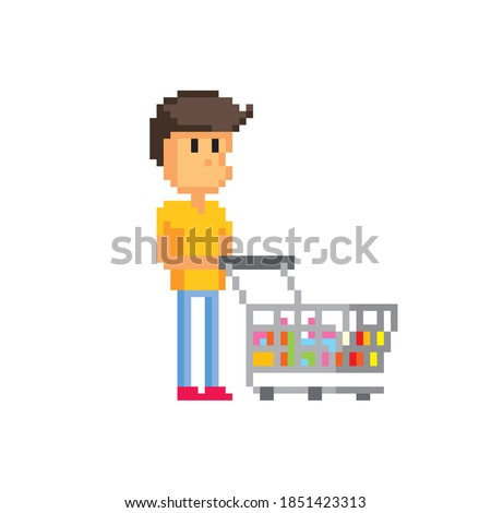 Male shopper with a full shopping cart. Pixel art. Old school computer graphic. 8 bit video game. Game assets 8-bit sprite. 16-bit.