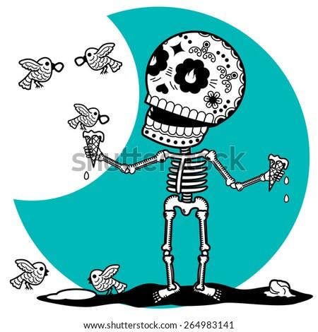 male skeleton in good spirits