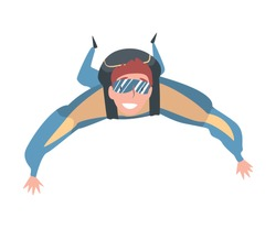 Male Skydiver Enjoying Freefall Freedom, Smiling Man Jumping with Parachute in Sky, Skydiving Parachuting Extreme Sport Cartoon Style Vector Illustration