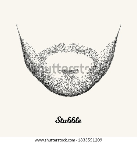 Male stubble. Simple linear Illustration with fashionable men hairstyle. Contour vector background with isolated element for barber shop decor, prints, t-shirts, posters Сток-фото ©
