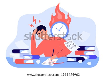 Male student learning before exams or writing test flat vector illustration. Cartoon angry character doing hard assignments and preparing for module work. Study and knowledge concept