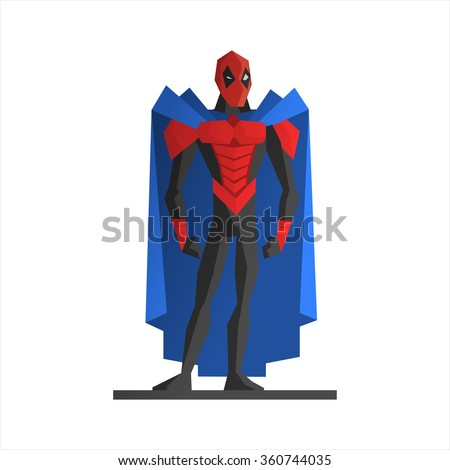 Male Superhero Vector Illustration. Strong hero in aggressive posture