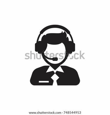 Male support service / customer care / customer service / administrator silhouette icon.