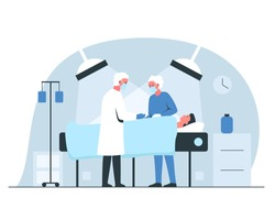 Male surgeon and nurse performing an operation in surgery room in a hospital. Vector concept illustration of a man under the lights anesthetized on the operating table in surgery room interior