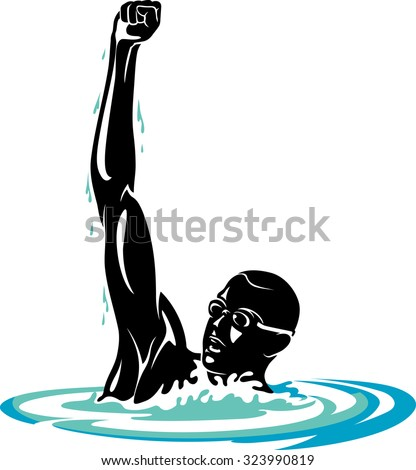 male swimmer raising arms in