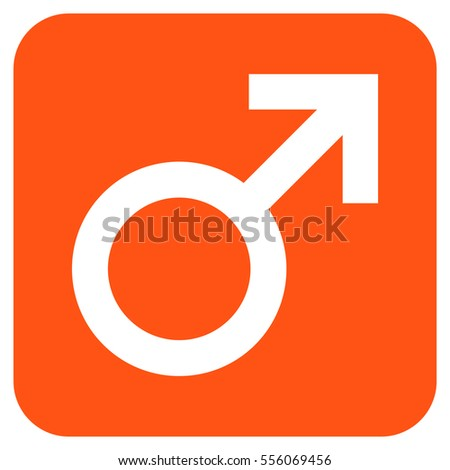 Male Symbol vector icon. Image style is a flat icon symbol in a rounded square button, white and orange colors.