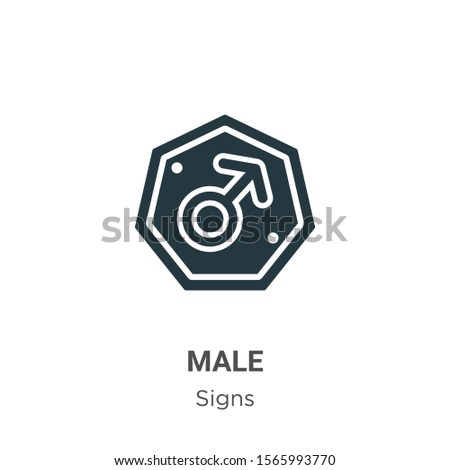Male symbol vector icon on white background. Flat vector male symbol icon symbol sign from modern signs collection for mobile concept and web apps design.