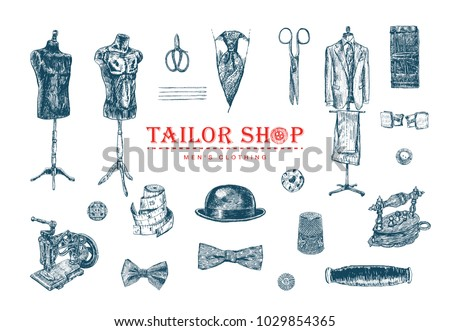 Male tailor shop. Tailor shears, needle and thread, spool of thread, Sewing Machine, thimble, sartorial meter, buttons, pin-cushion, tambour.  Men Clothing. Hand drawn sewing tools
