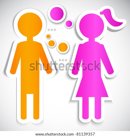 Male talking with female. Paper bubbles for  speech