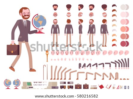 Male teacher character creation set. Full length, different views, emotions, gestures, isolated against white background. Build your own design. Cartoon flat-style infographic illustration