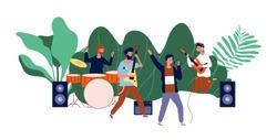 Male team concert. Boys band, men musicians or pop group. Open air rock festival, music event vector illustration