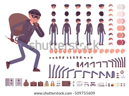 Male thief character creation set. Full length, different views, emotions, gestures, isolated against white background. Build your own design. Cartoon flat-style infographic illustration