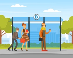 Male Thief Pickpocket Stealing Purse from Woman Handbag at Bus Stop, Burglar Committing Robbery, Criminal Scene Flat Vector Illustration