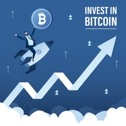 Male trader holds bitcoin. Businessman flying up on rocket. Invest in bitcoin. Fast growth of bitcoin rate, earnings on cryptocurrency. Trading on stock market, landing page. Flat vector illustration