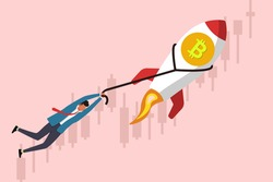 Male trader holds rope on rocket bitcoin. Businessman flying up on rocket with currency rate on background. Invest in bitcoin. Fast growth of bitcoin rate, earnings on cryptocurrency. Trading on stock