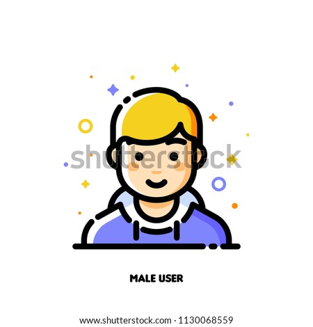 Male user avatar. Icon of cute boy face. Flat filled outline style. Pixel perfect 64x64. Editable stroke