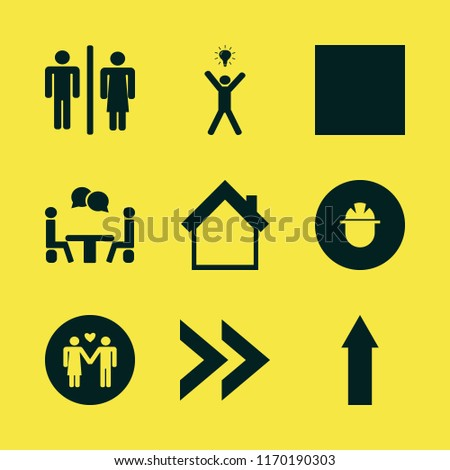male vector icons set. with wc, white bow tie, happy man bulb and builder in set