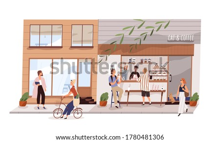 Male vendor work at outdoor coffeeshop on modern city street vector flat illustration. Man and woman eating and buying coffee and snack in cat cafeteria isolated. Kiosk with takeaway food and drink