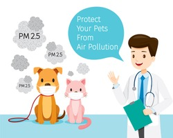 Male Veterinarian With Dog And Cat Wearing Air Pollution Mask For Protect Dust PM2.5, Respiratory, Environment, Health, Breath, Animal, Physical