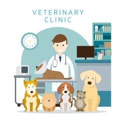 Male Veterinarian with Pets