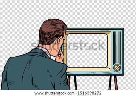 male viewer watching TV. Television propaganda, film and news. Pop art retro vector illustration drawing Photo stock ©