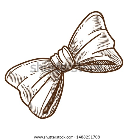 Male vintage accessory isolated sketch, retro bowtie vector. Bow or official outfit element, garment or clothing drawing. Neck decoration, old-fashioned gentlemans look item, wearing or clothes