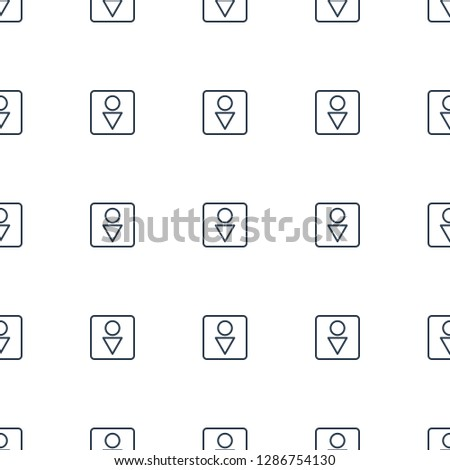 Male WC icon pattern seamless white background. Editable outline Male WC icon. Male WC icon pattern for web and mobile.